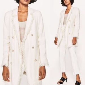 Zara | Off White Frayed Tweed Pearl Button Coat XS